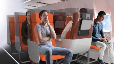 Flight after COVID-19: Hygiene shields in economy class